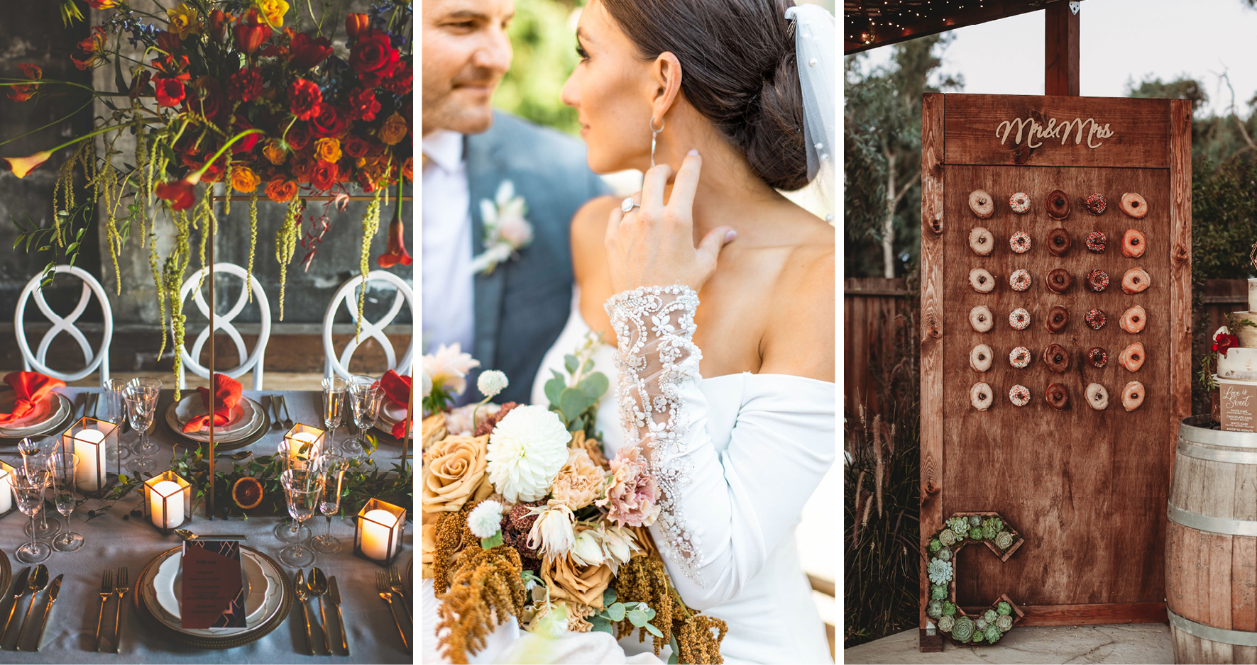 Collage of Three Different Fall Wedding Color Palettes