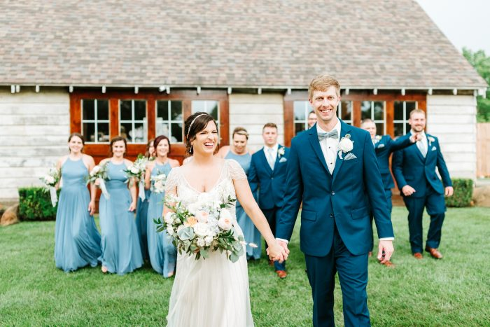 Real Bride and Groom Holding Hands and Walking with Bridesmaids and Groomsmen at Micro Wedding