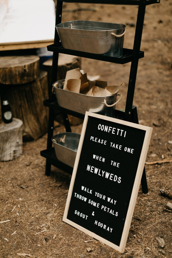Cute Black Letter Board with Ceremony Instructions for Guests at Real Wedding