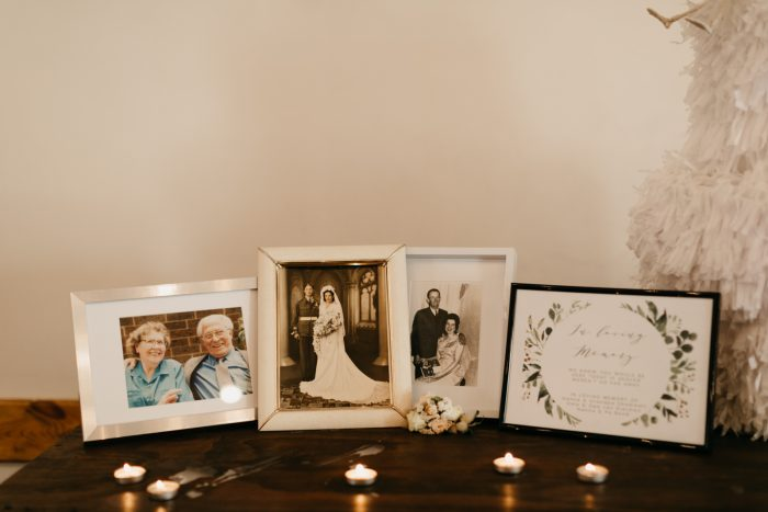 Photographs of Parents' Wedding on Reception Table