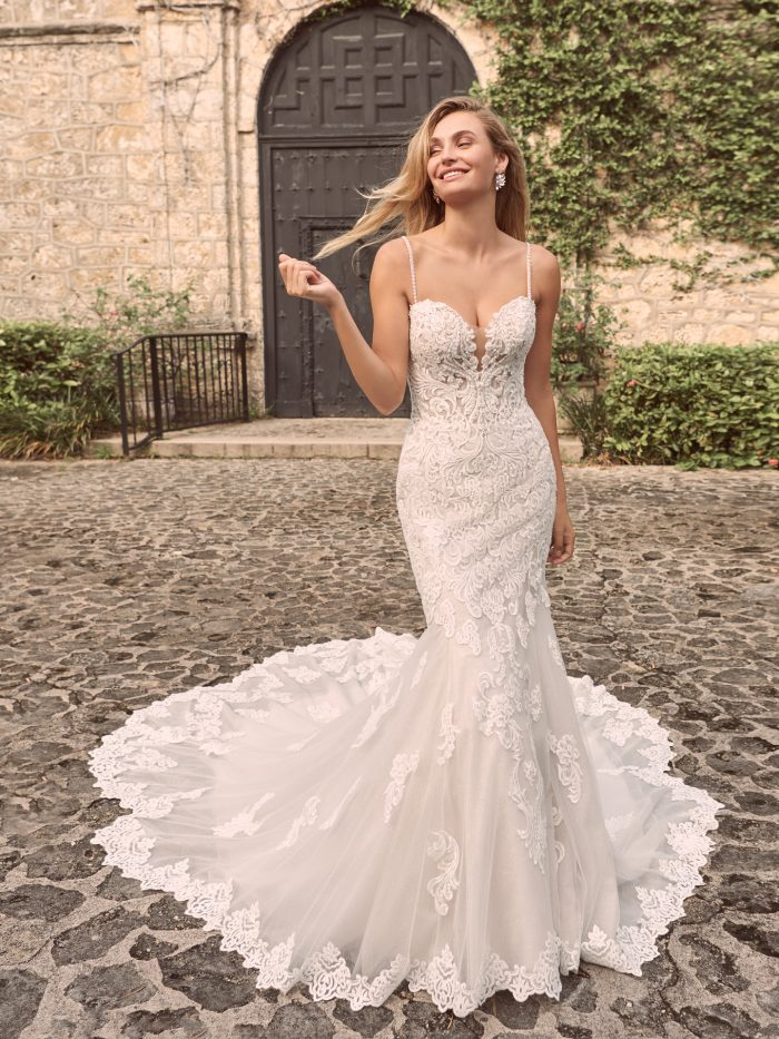 Model Wearing Strapless Lace Wedding Dress Called Fiona by Maggie Sottero