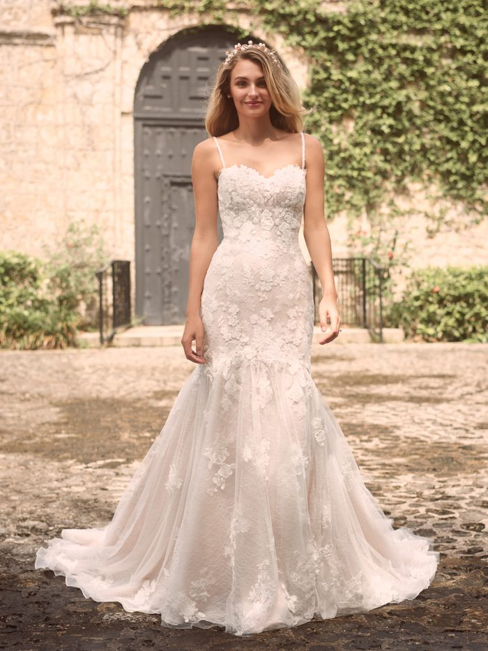 Model Wearing Sparkly Mermaid Bridal Dress Called Joelle by Maggie Sottero