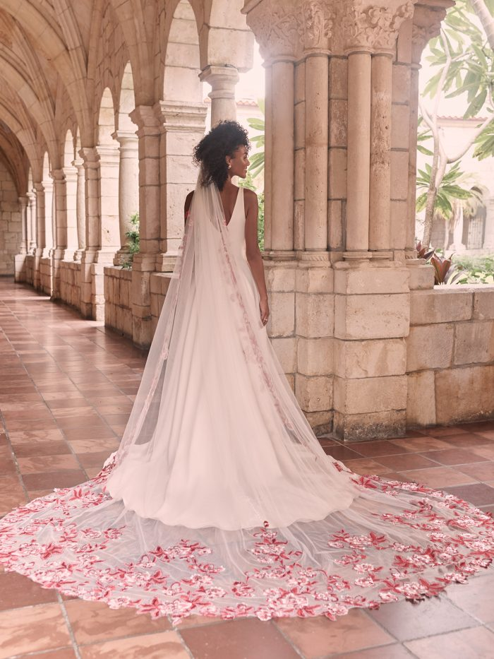 Model Wearing Simple A-line Wedding Dress with Red Lace Wedding Veil Called Josephine by Maggie Sottero