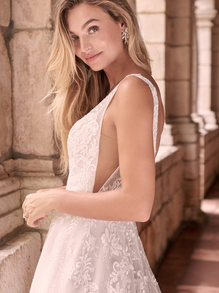 Model Wearing Romantic A-line Wedding Gown Called Leticia Lynette by Maggie Sottero