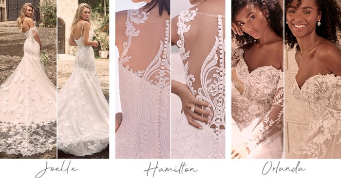 Collage of Wedding Dress Customization and Personalization Options from Maggie Sottero