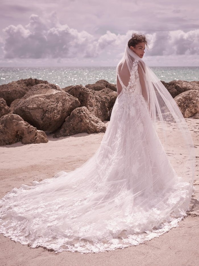 Model Wearing Long Sleeve 3D Lace Bridal Gown with Lace Vintage Wedding Veil Called Reeve by Sottero and Midgley