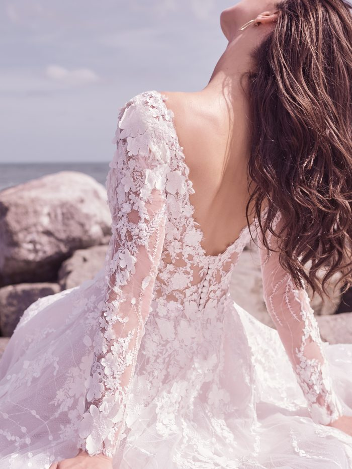 Model Wearing Long Sleeve 3D Lace Bridal Gown Called Reeve by Sottero and Midgley