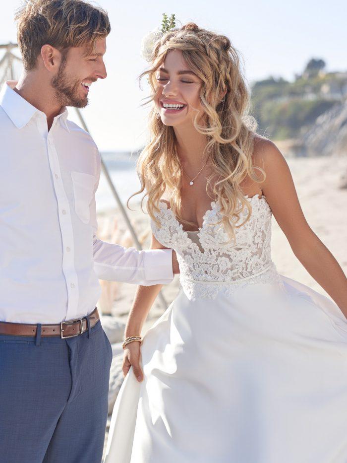 Model Wearing Silky Satin A-line Wedding Dress Called Leota by Rebecca Ingram