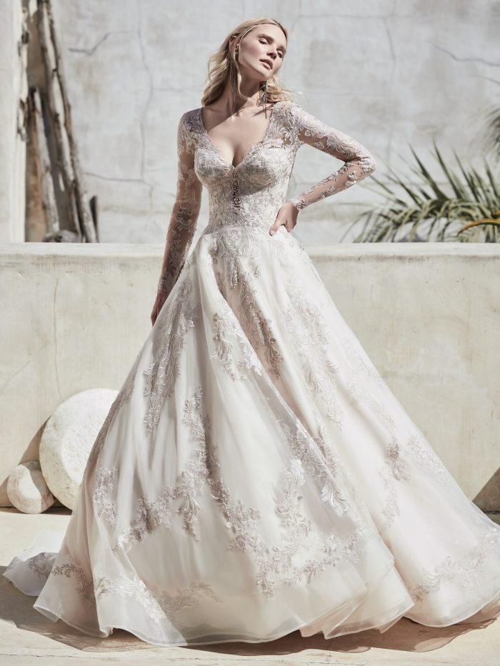 Bride Wearing Vintage Lace Ball Gown Wedding Dress Called Vincent by Sottero and Midgley