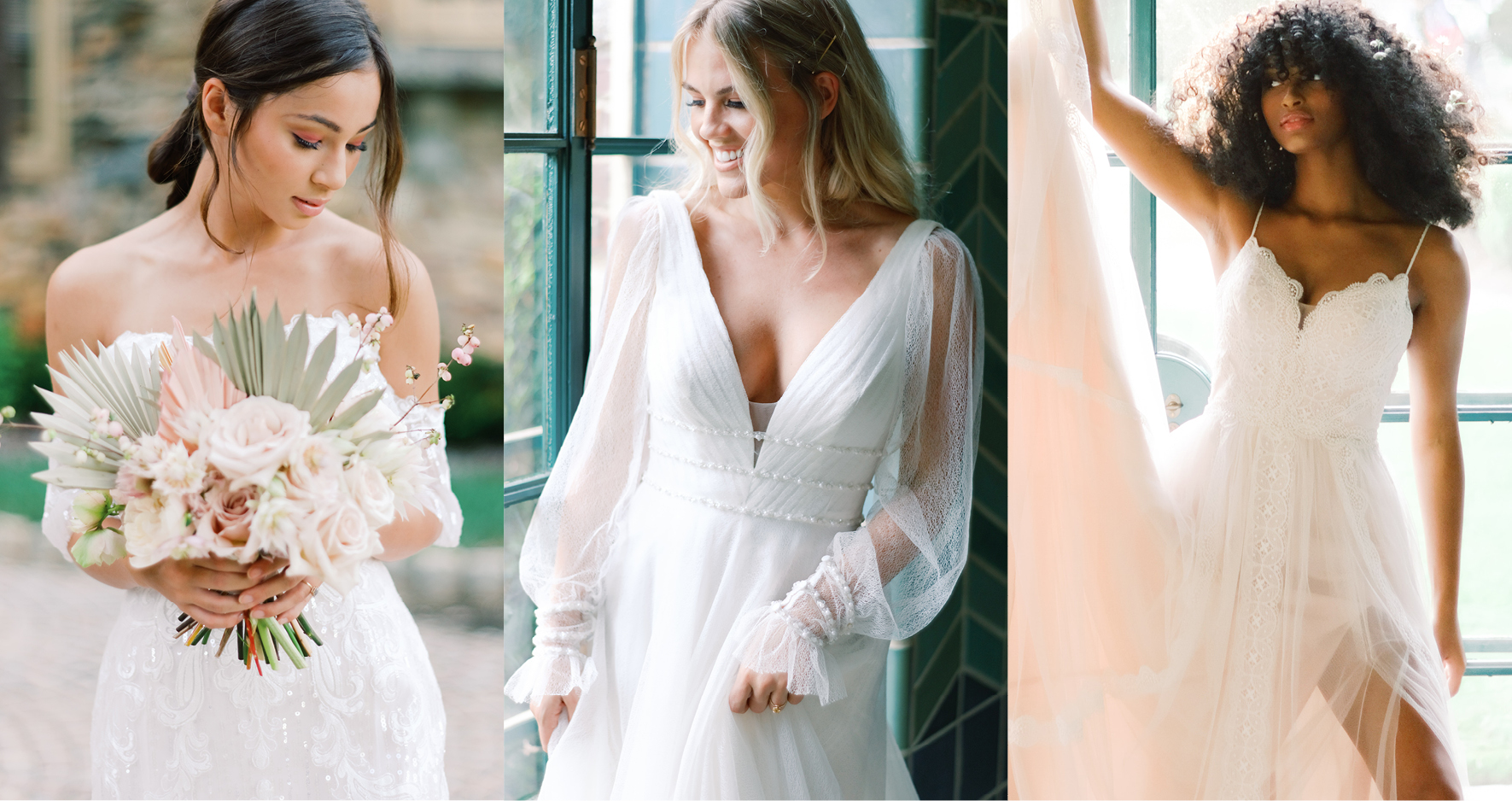 Collage of Three Diverse Brides Wearing Bohemian Wedding Dresses by Maggie Sottero
