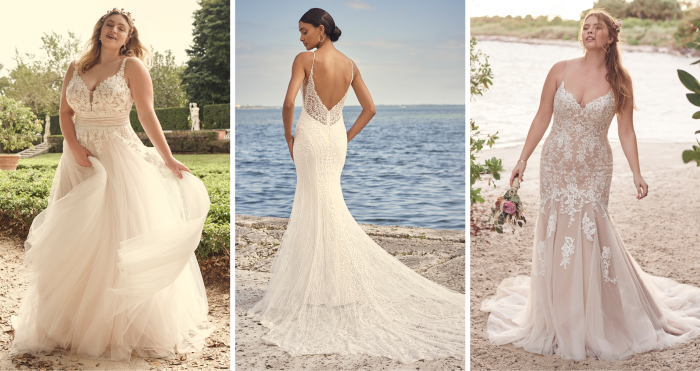 Collage of Brides Wearing Maggie Sottero Wedding Dresses that Fit Different Body Types