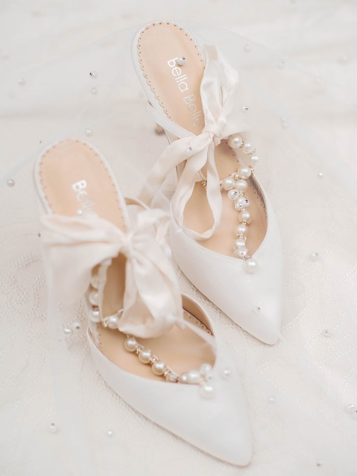 White and Pearl Royal Inspired high heel wedding shoes