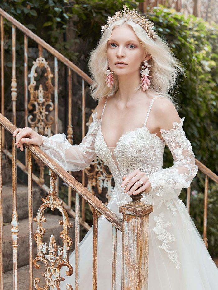 Bride Wearing Chic Long Sleeve Princess Bridal Dress Stevie by Maggie Sottero