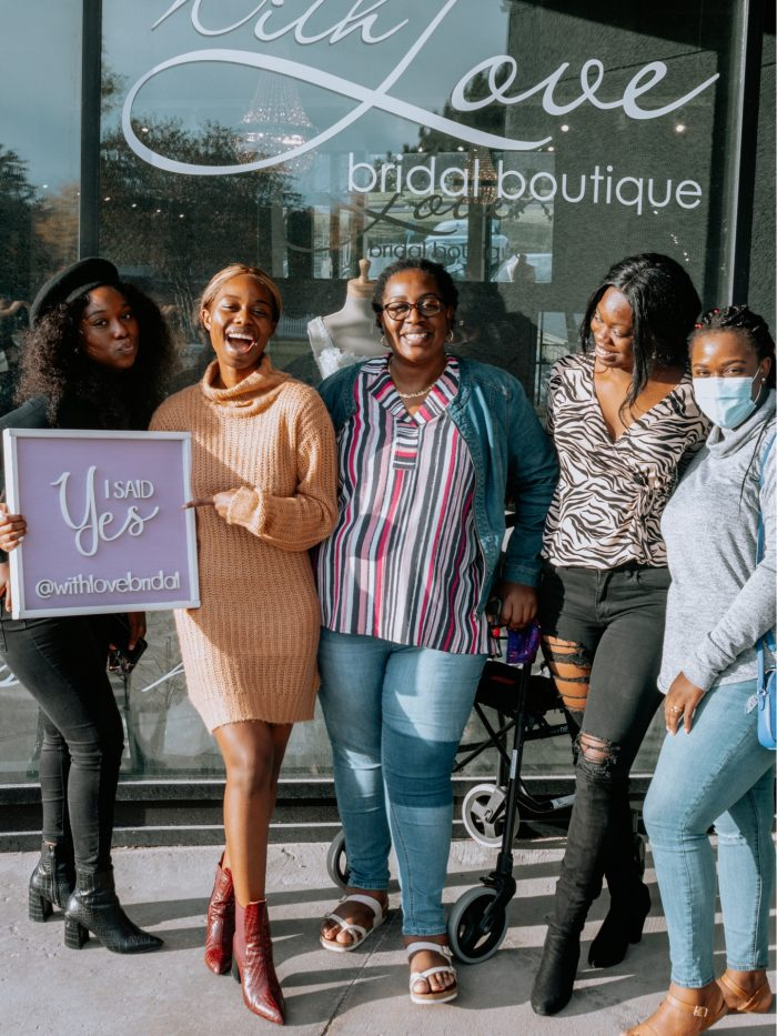 Maid of Honor helped Real Bride Said yes to a dress at With Love Bridal Boutique