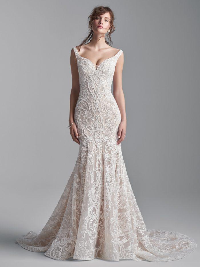 Bride Wearing Vintage-Inspired Beaded Mermaid Wedding Gown Elias by Sottero and Midgley