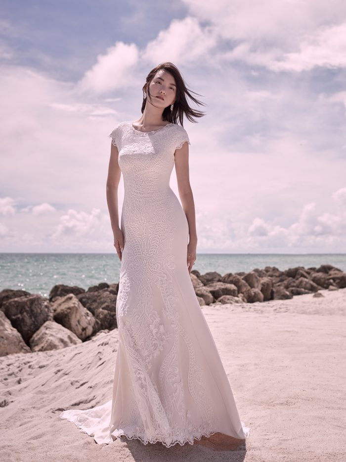 Bride Wearing Modest Unique lace wedding dress Kevyn Leigh by Sottero and Midgley