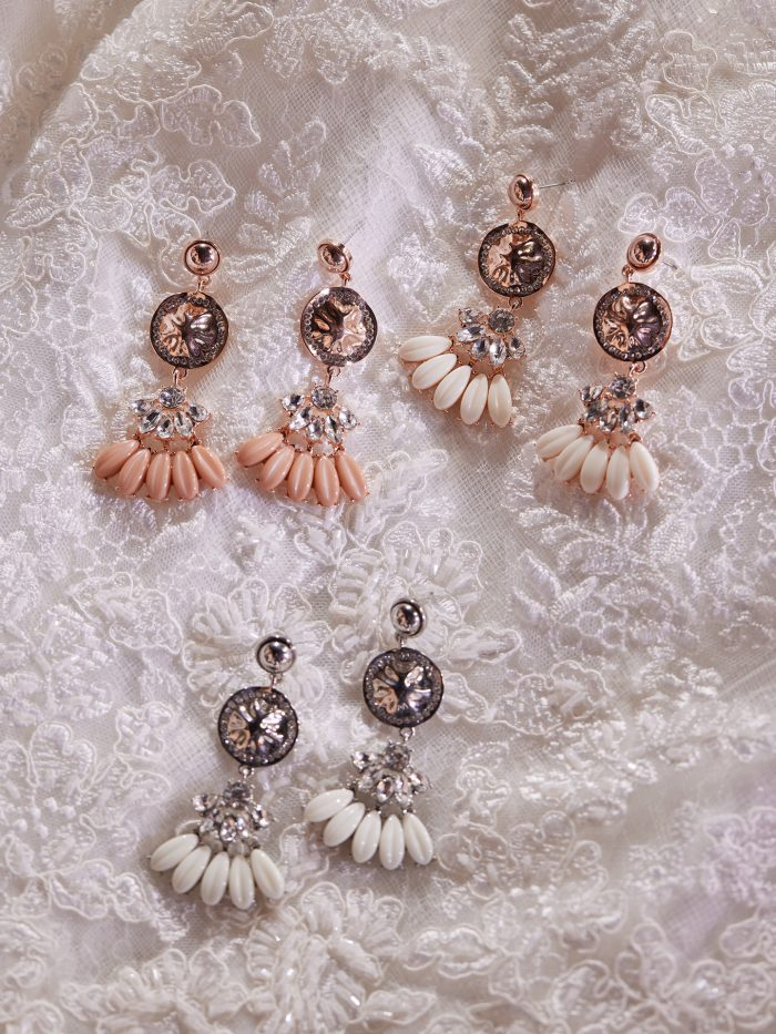 Three Pairs of Tear Drop Wedding Earrings Called Alanis by A'El Este x Maggie Sottero