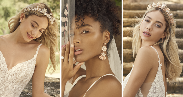 Collage of Brides Wearing Bridal Crowns and Wedding Earrings by A'El Este and Maggie Sottero