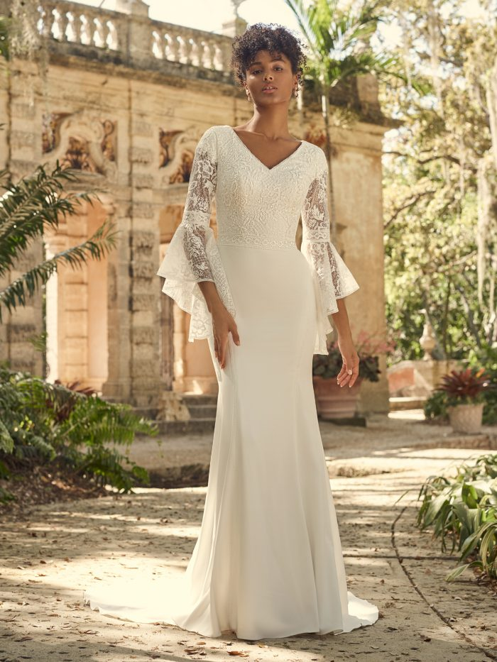 Bride Wearing Modest Bell Sleeve Lace Wedding Dress Called Dalton by Maggie Sottero