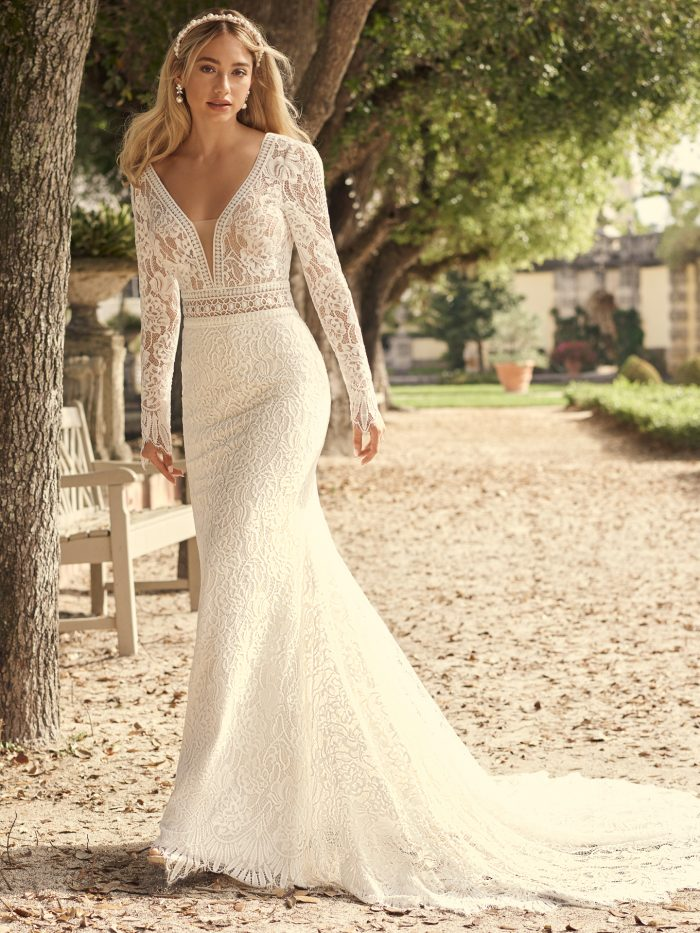 Bride Wearing Long Sleeve Lace Wedding Gown Called Drita by Maggie Sottero