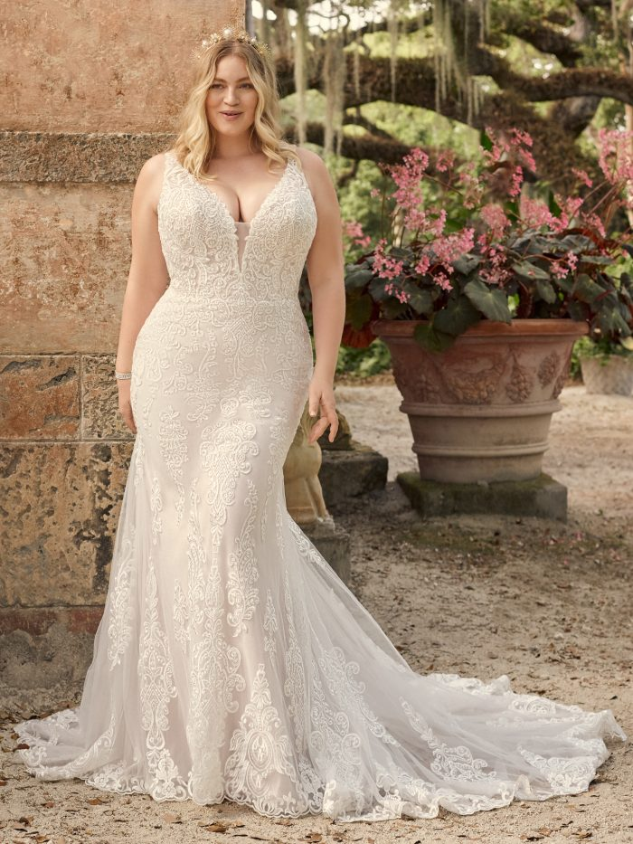 Bride Wearing Plus Size Vintage Lace Wedding Dress Called January by Maggie Sottero