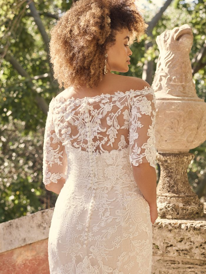 Bride Wearing Strapless Wedding Dress Accessory with Off-the-Shoulder Sleeves Called Katell by Maggie Sottero