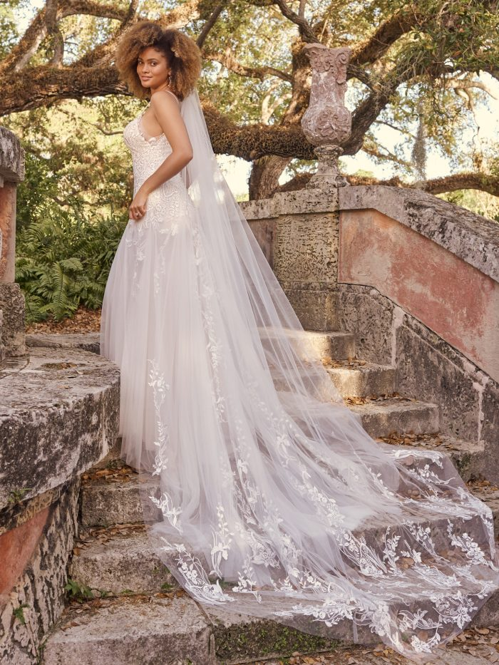 Bride Wearing Lace Fit-and-Flare Wedding Dress with Lace Bridal Veil Called Rabia by Maggie Sottero