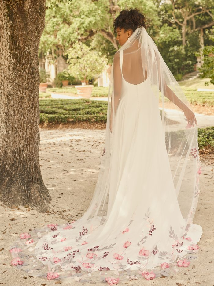 Bride Wearing Colorful Lace Veil Called Lavinia and Crepe A-line Wedding Dress Called Sondra by Maggie Sottero