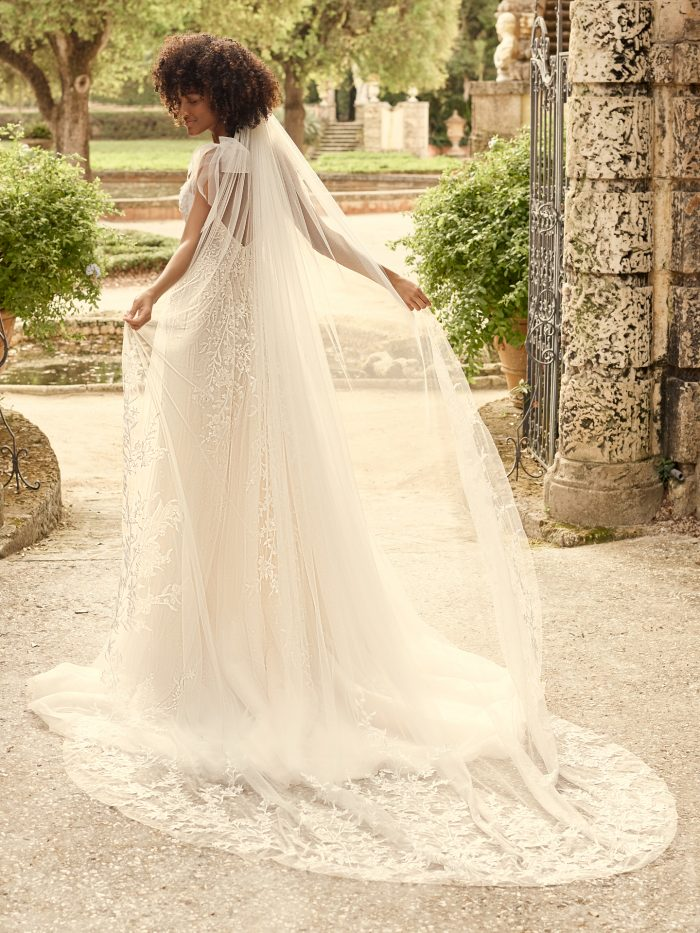 Bride Wearing Illusion Lace Chapel Length Wedding Veil Called Waverly by Maggie Sottero