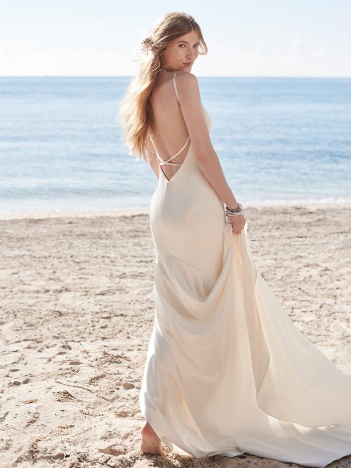 Bride Wearing Simple Slip Style Wedding Dress Called Augusta by Rebecca Ingram