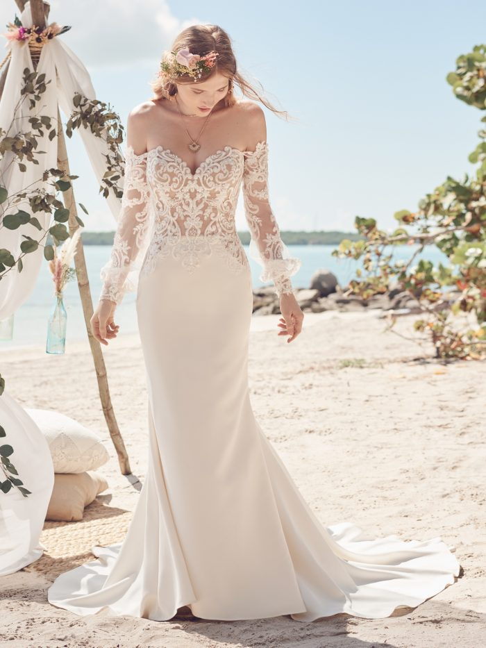 Bride Wearing Embroidered Lace Crepe Bridal Dress Called Beverly by Rebecca Ingram