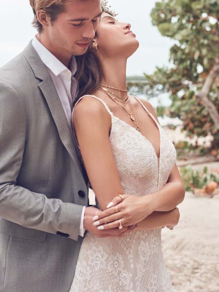 Groom With Bride Wearing Boho Lace Wedding Dress Called Keating by Rebecca Ingram
