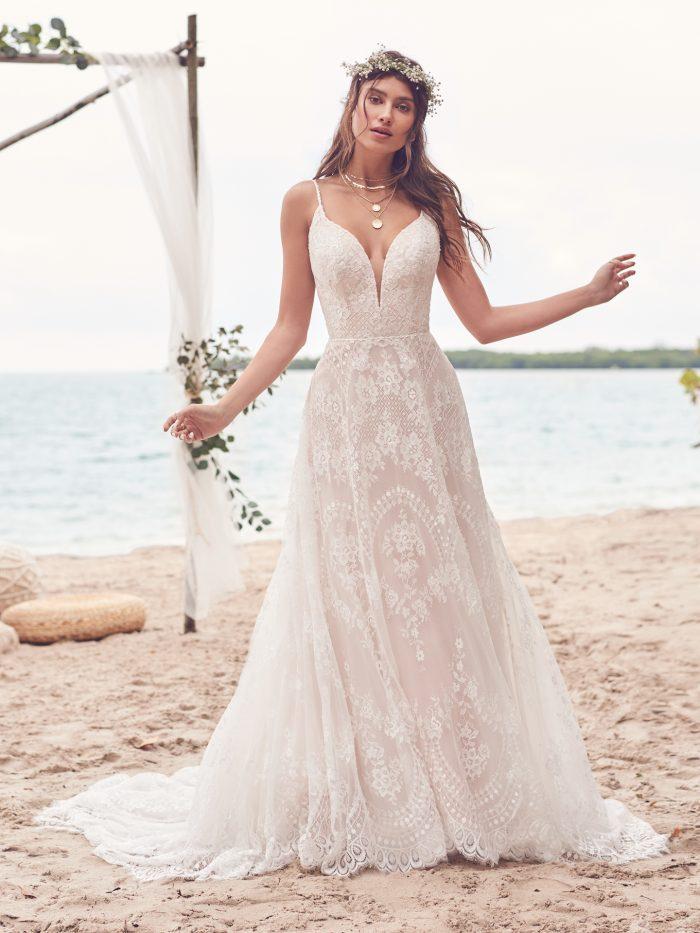 Bride Wearing Boho Lace Wedding Dress Called Keating by Rebecca Ingram