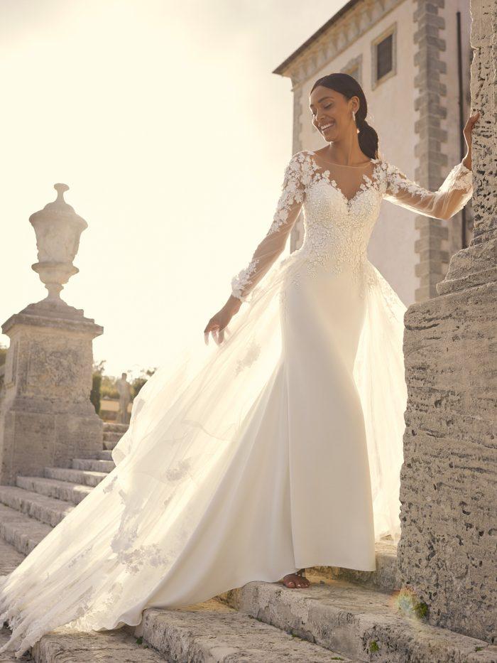 Bride Wearing Illusion Long Sleeve Crepe Wedding Dress Called Arta by Sottero and Midgley