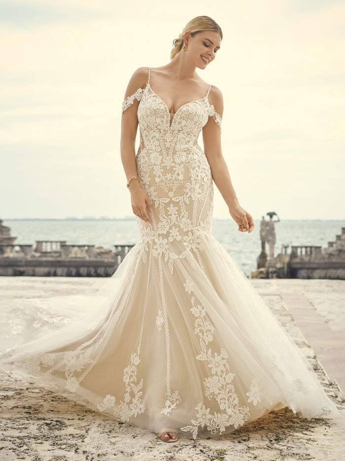 Bride Wearing Mermaid 1970s Wedding Dress Called Grayson by Sottero and Midgley
