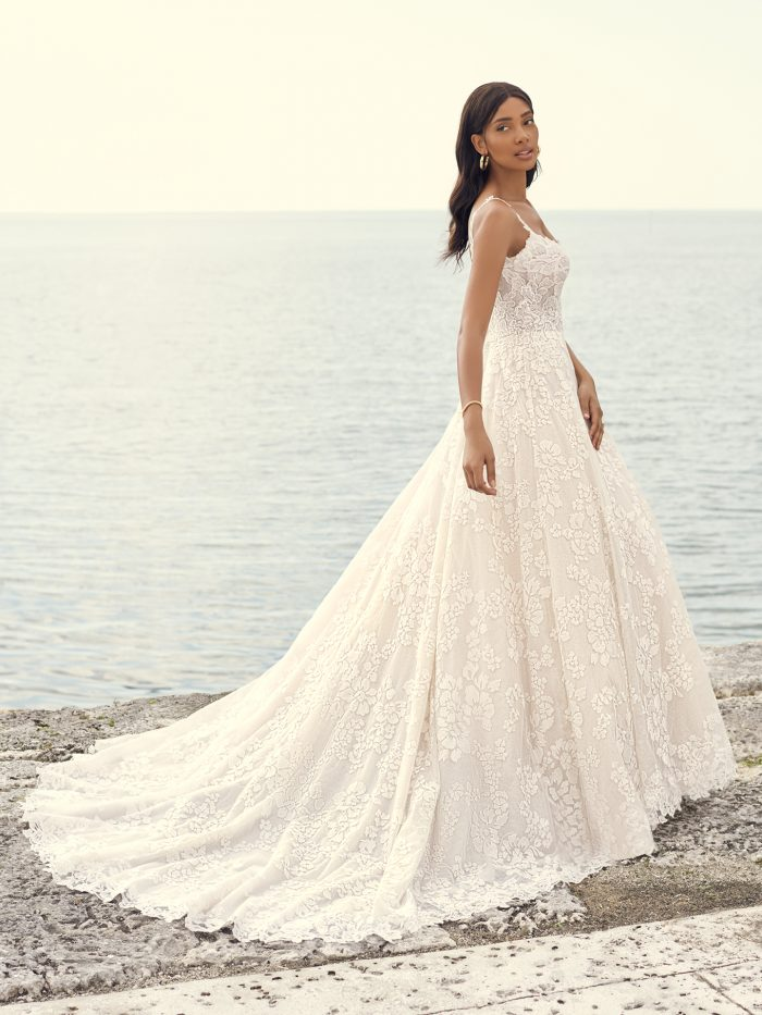 Bride Wearing Floral Lace A-line Bridal Gown Called Sawyer by Sottero and Midgley