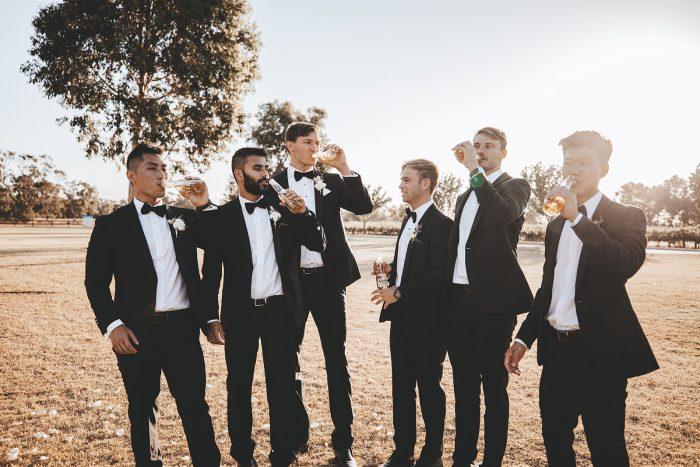 Groom with Groomsmen at Vineyard Wedding in Western Australia Wearing Black Tuxes and Bow Ties