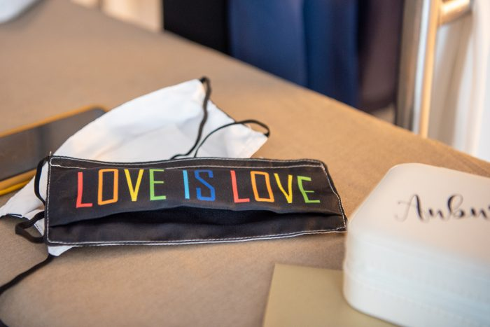 Love is Love Masks for LGBTQ Couples as a Pride Wedding Idea