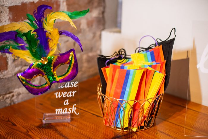 Rainbow Masks for Guests at Pride Wedding During Covid