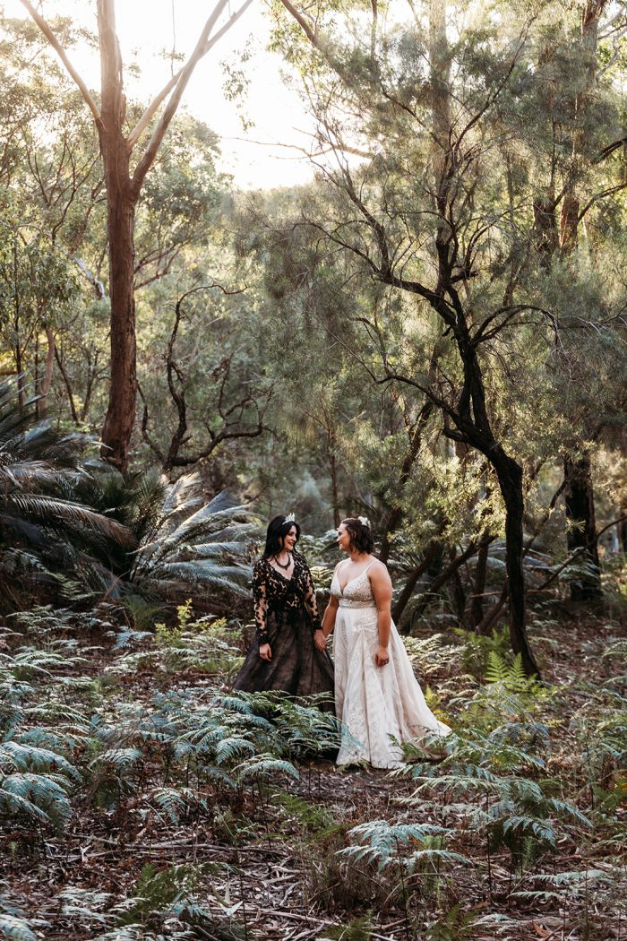 LGBTQ Brides Doing Bridal Portraits in Forest and Wearing Maggie Sottero Wedding Dresses