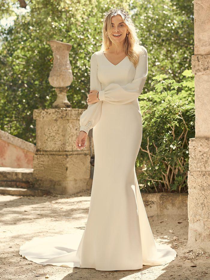 Bride Wearing Bishop Sleeve Vintage Bridal Gown Called Azarliah by Maggie Sottero