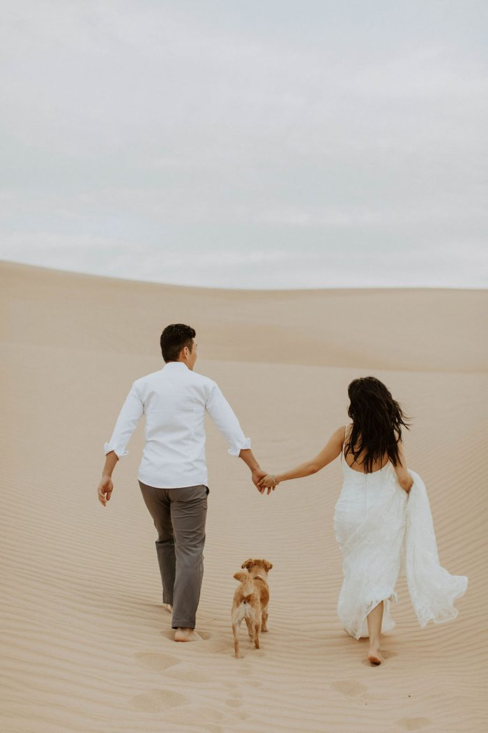 Bride and Groom at Sand Dunes with Cute Rescue Dog