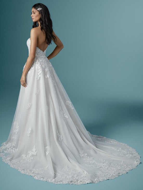 Bride Wearing Strapless Wedding Dress Accessory Lace Detachable Bridal Train Called Kaysen by Maggie Sottero
