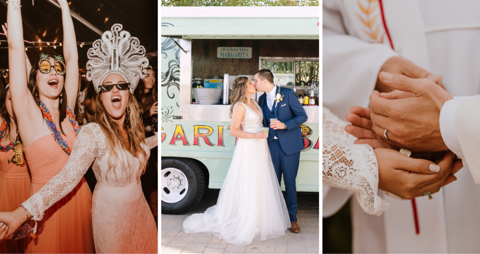 Collage of Hispanic Bride Dancing and Hispanic Bride Kissing the Groom and Hands Exchanging Coins