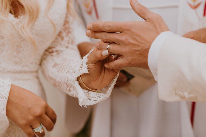 Bride Sliding Grooms Ring on Finger