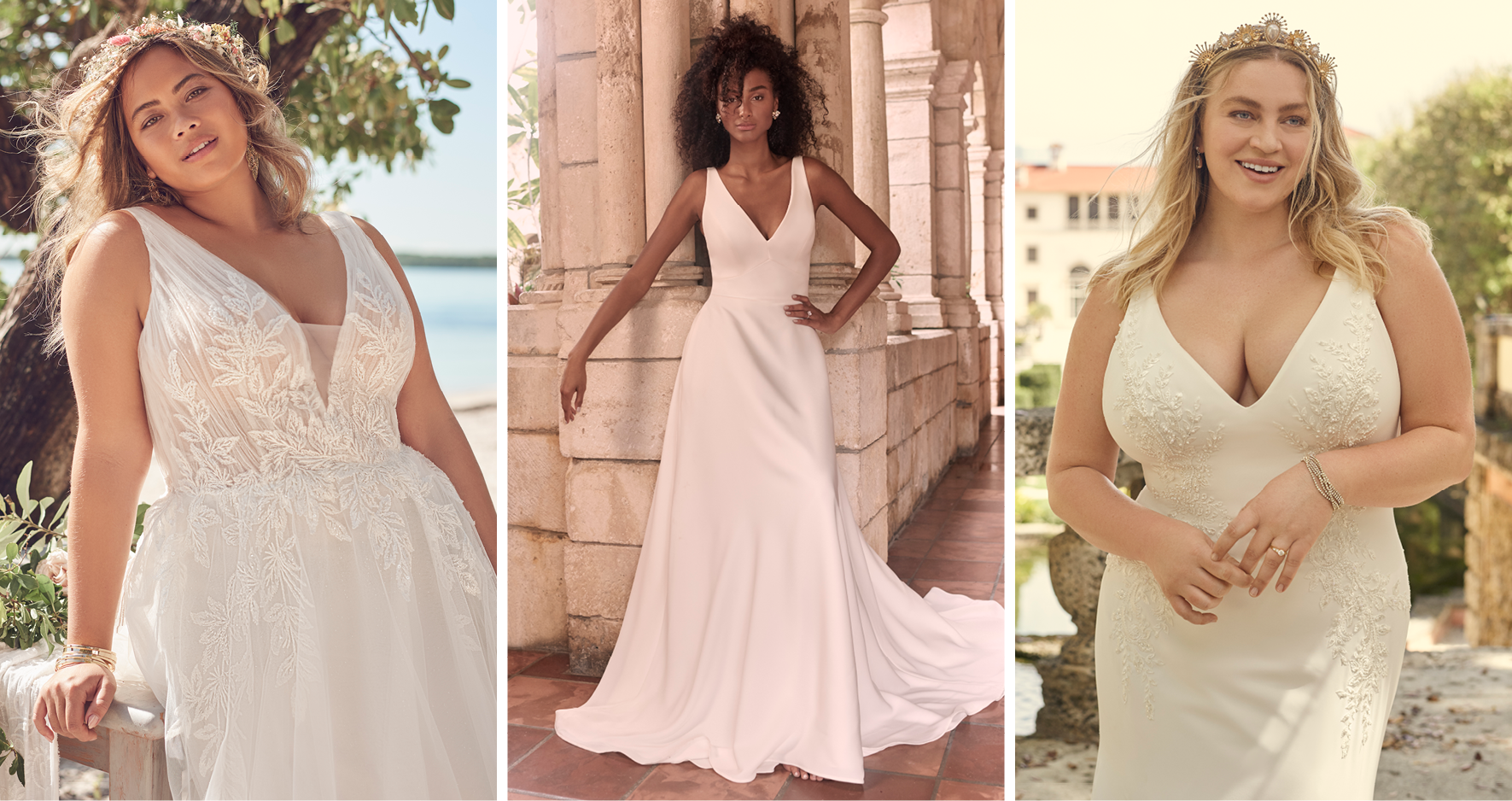 Collage of Plus Size Models Wearing Wedding Dresses Called Jenessa by Rebecca Ingram and Josephine Lynette by Maggie Sottero and Adrianna by Maggie Sottero